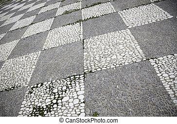 pedra, medieval, chão