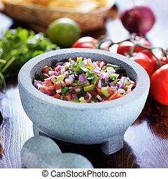 pedra, mexicano, de, pico, molcajete, salsa, gallo