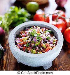 pedra, mexicano, de, tradicional, pico, molcajete, salsa, gallo