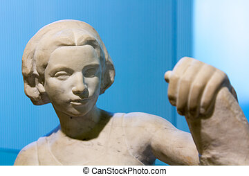 pedra, mulher, jovem, estátua, esculpido