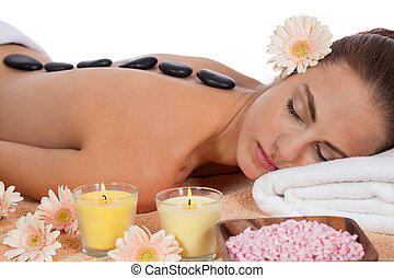 pedra, mulher, saudável, wellness, quentes, atraente, caucasiano, massagem