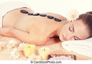 pedra, mulher, wellness, helathy, quentes, atraente, caucasiano, massagem