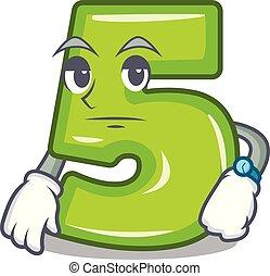 pedra, número, esperando, cinco, gravado, caricatura