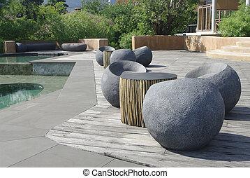 pedra, natação, assento, piscina, logo