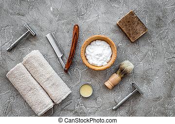 pedra, navalha, topo, espuma, acessórios, shaving., cinzento, fundo, tabela, escova, raspar, vista