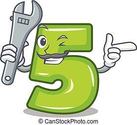 pedra, numere cinco, mecânico, gravado, caricatura