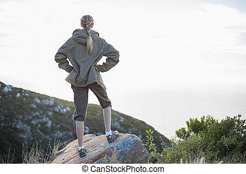 pedra parada, mulher, vista traseira