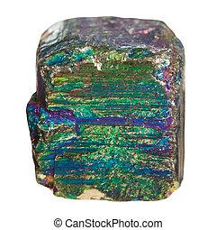 pedra, pedaço, pyrite, iridescente, mineral