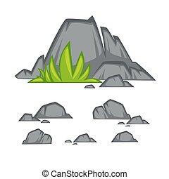 pedra pedra, caricatura, apartamento, style., jogo, de, diferente, boulders.