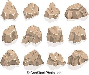 pedra pedra, jogo, caricatura