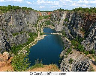 pedra, pedreira, grande, américa, perto, praga, república tcheca