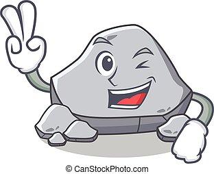 pedra, personagem, estilo, dois, dedo, caricatura