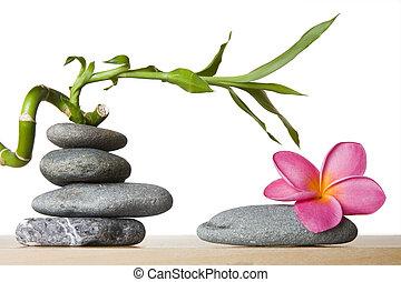 pedra, pilha, e, frangipani, flor, com, espiral, bambu