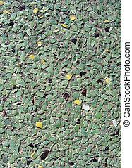 pedra, pretas, seixos, parede, concreto, verde, amarela, ...