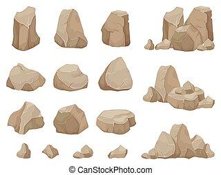 pedra, rock., pedras, pedregulho, cascalho, rubble, e,...