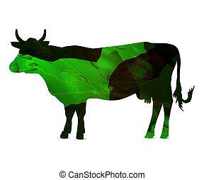 pedra, silueta, vaca, veias, folha, cubes.