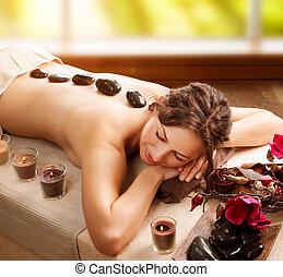 pedra, spa., salão, massage., dia spa
