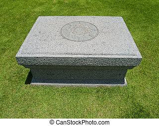 pedra, tabela, ligado, gramado