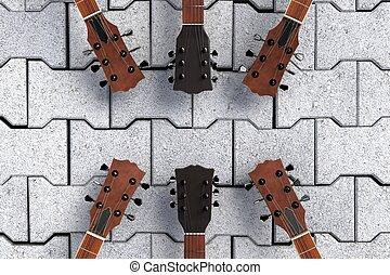 pedra, topo, pavimento, violões