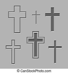 pedra, vetorial, cristão, esculpido, cruzes