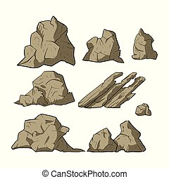 pedra, vetorial, set.