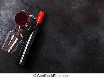 pedra, vidro, texto, topo, espaço, elegante, experiência., garrafa, tabela, vista., vinho, vermelho, cozinha