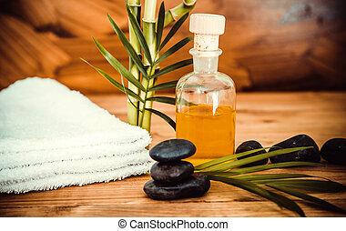 pedras, óleo, zen, basalto, madeira, spa