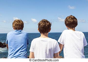 pedras, amigos, três, ondas, observar