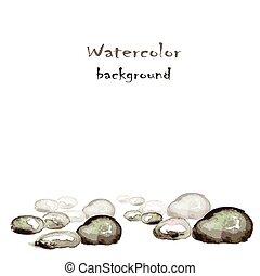 pedras, aquarela, fundo branco