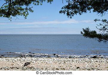 pedras, areia, vista, branca, costa