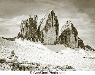 pedras, berro, ao redor, cime, primavera, tre, rastro, summit., pilha, alpino