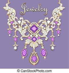 pedras, colar, precioso, mulher, ilustração