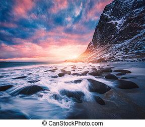 pedras, coloridos, céu, obscurecido, água, praia, arenoso