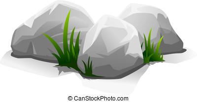 pedras, com, capim