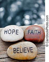 pedras, com, fé, esperança, believe.