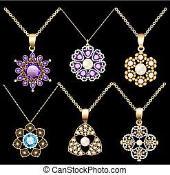 pedras, contas, jogo, jóia, ouro, cor, vindima, ornamento, pendentes, ilustração, feito, pérolas, precioso