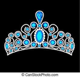 pedras, coroa, ilustração, precioso, resplendecer, tiara, mulheres