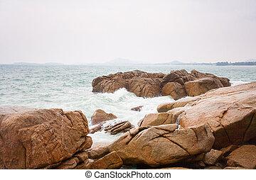 pedras, costa, ondas, bata