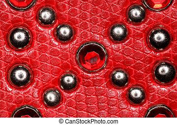pedras, couro, metal, textura, precioso, rebites, vermelho