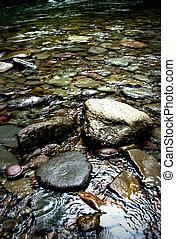 pedras, e, água