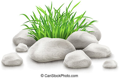 pedras, elemento, desenho, grama verde, paisagem