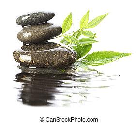 pedras, em, água