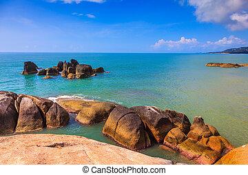 pedras, enorme, praia, liso