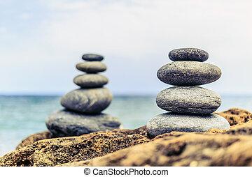 pedras, equilíbrio, inspiração, calmo, conceito