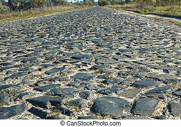 pedras, feito, estrada