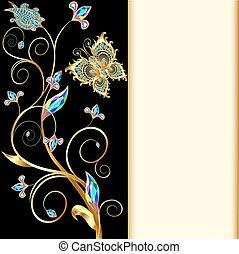pedras, feito, fundo, ilustração, borboletas, ornamentos, precioso