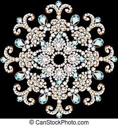 pedras, feito, ilustração, experiência preta, precioso, brilhante, snowflake