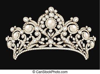 pedras, femininas, ouro, pérolas, diadema, ilustração, coroa, experiência preta, casório, precioso, tiara
