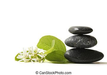 pedras, flor, empilhado