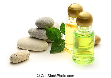 pedras, folhas, garrafas, shampoo